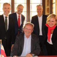Hinten von links Roland Eicmann, Manfred Wolf, Hans-Dieter Kandler, vorn Christian Ude und Simone Stromayr