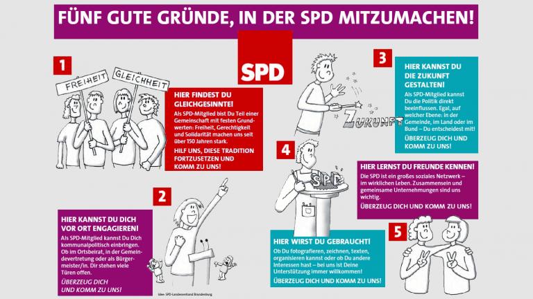 Grafik 'Fünf Gründe, in der SPD mitzumachen'